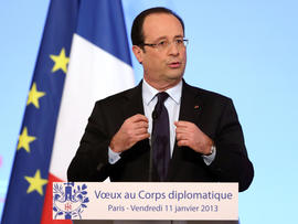 French President Francois Hollande attends a ceremony for diplomats at the Elysee Palace in Paris Jan. 11, 2013.