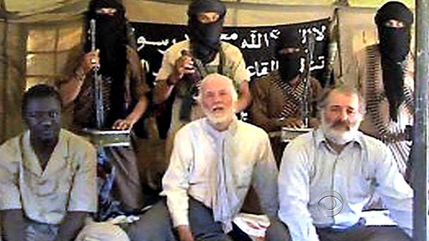 Canadian diplomat Robert Fowler (center bottom row), while he was being held hostage by Moktar Belmoktar and al Qaeda-affiliated militants