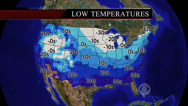 Average temperatures in the U.S. on January 22, 2013.