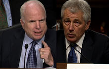 Hagel, McCain tussle over Iraq surge
