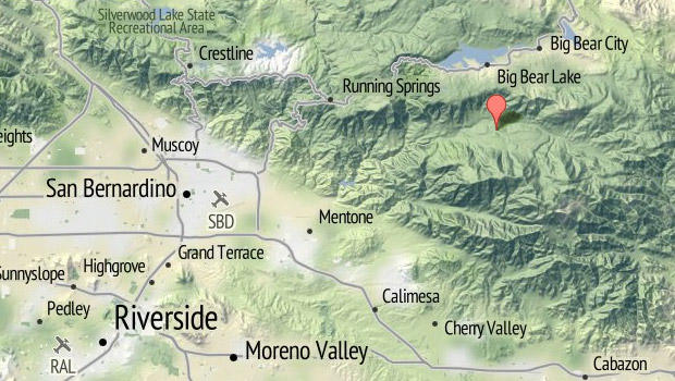 映射显示玻璃路在加利福尼亚的大熊地区