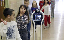 Robot sits in for student