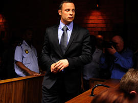 South African Olympic sprinter Oscar Pistorius appears at Pretoria Magistrate's Court Feb. 21, 2013.