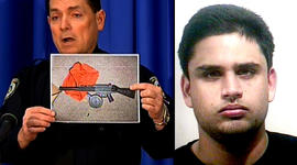 At left, University of Central Florida Police Chief Richard Beary holds a photograph of a gun found in James Seevakumaran's room. At right, the student is pictured in a mugshot in 2006.