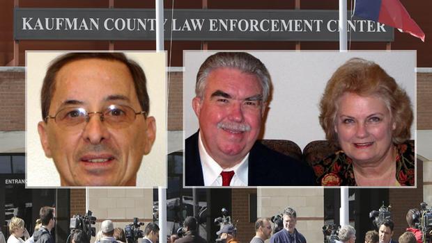 检察官Mark Hasse,左,DA Mike McLelland和他的妻子Cynthia,对。