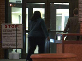 Tameka Goodson, educator indicted in Atlanta school cheating scandal, surrendering at Fulton County Jail early on April 2, 2013, the deadline set by prosecutors for all defendants in the scandal to do same
