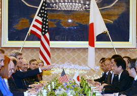 U.S. Secretary of State John Kerry (5th L) gestures towards Japanese Foreign Minister Fumio Kishida (3rd R) during their talks at the foreign ministry's Iikura guesthouse in Tokyo on April 14, 2013. U.S. Secretary of State John Kerry arrived in Japan on April 14 to discuss nuclear tensions on the Korean peninsula after securing vital support from China to help defuse the weeks-long crisis