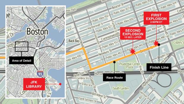 波士顿马拉松地图更新了JFK图书馆的位置
