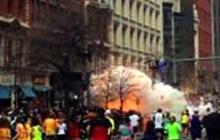 Scene at moment of Boston Marathon explosion