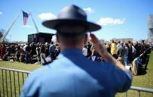 Brother of slain officer speaks at Boston memorial