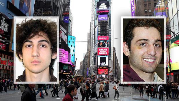 Tsarnaev兄弟在时代广场上分屏