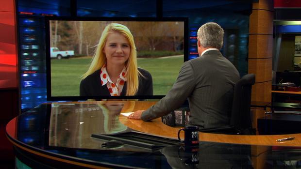 美国最着名的绑架受害者伊丽莎白•斯玛特(Elizabeth Smart)与来自犹他州的哥伦比亚广播公司新闻主播斯科特佩利谈话。