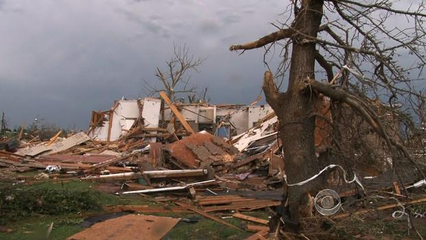 The remains of Nancy Davis' home in Moore, Okla., following Monday's tornado.