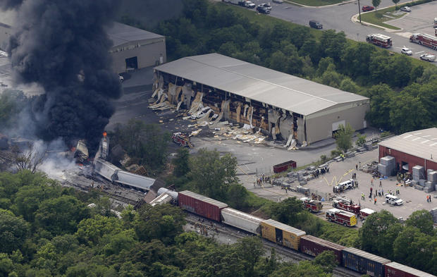 Fiery freight train crash in Md.