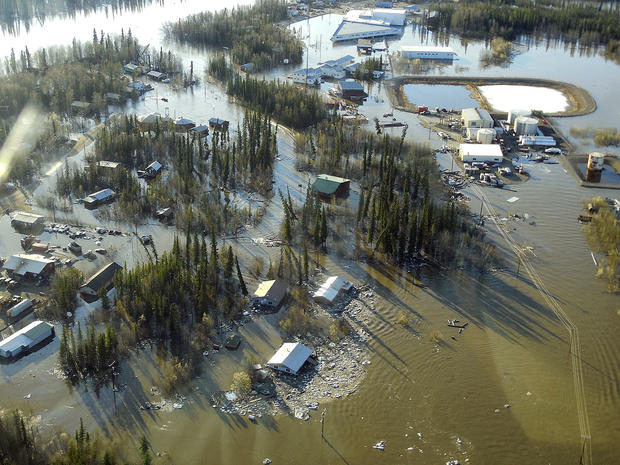 Homes and other buildings are shown flooded in Galena, Alaska, May 27, 2013, in this picture released by the National Weather Service.