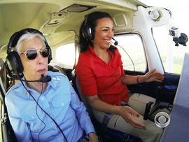 Wally Funk took Michelle Miller up for a flying lesson.