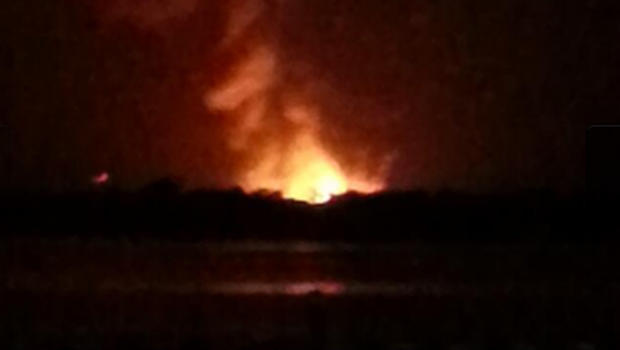 This picture tweeted by Marc Strand shows an explosion reportedly at a gas plant in Lake County, Fla.