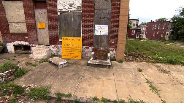 被遗弃的房子在马里兰州巴尔的摩。