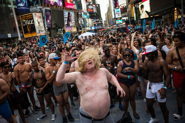 Pants off in Times Square