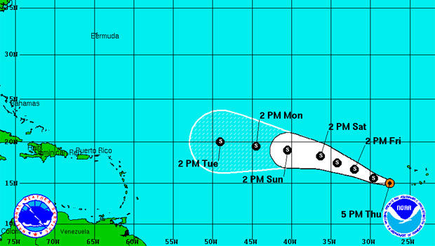 The location and forecast of Tropical Storm Erin as of Thursday, 5:00 p.m. ET.
