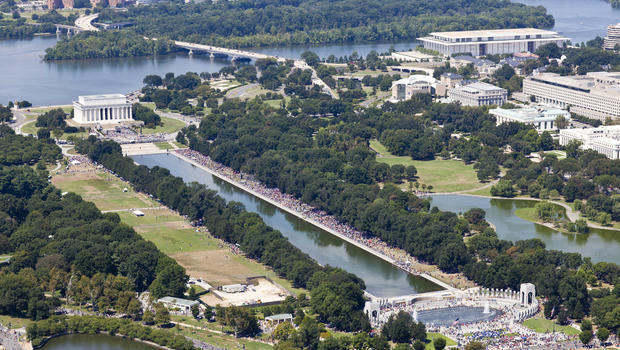 A massive crowd extends from the Lincoln Memorial in Washington Aug. 24, 2013, during an event commemorating the 50th anniversary of the historic March on Washington in this aerial picture from AirPhotosLIVE.