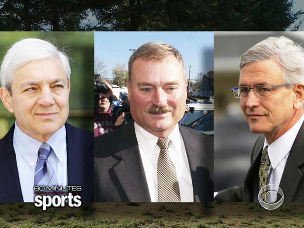 宾夕法尼亚州立大学总统Graham Spanier,高级副总裁Gary Schultz和运动总监Tim Curley