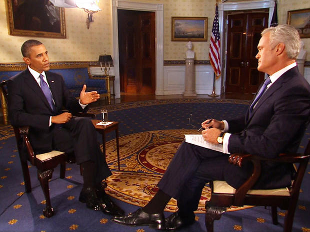 President Obama spoke with Scott Pelley at the White House Monday.