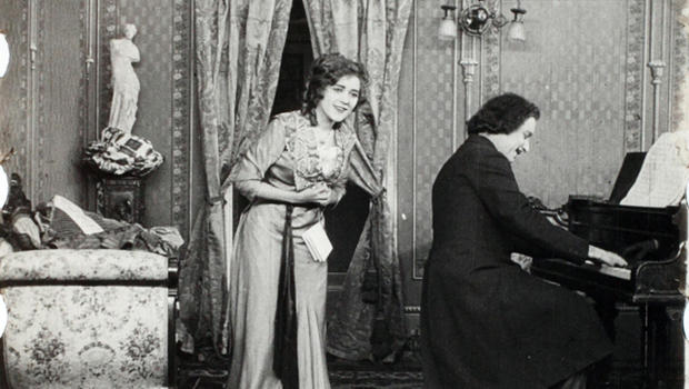 This image provided by Keene State College shows frames of a 1911 movie with actress Mary Pickford. The film was discovered in a New Hampshire barn and is undergoing restoration.