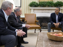 From left, Sen. Dick Durbin, D-Ill., Sen. Charles Schumer, D-N.Y., and President Obama meet in the Oval Office of the White House Oct. 12, 2013, in Washington.