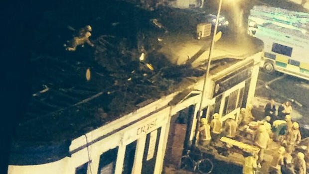 The scene of a helicopter crash at a pub in Glasgow, Scotland, Nov. 29, 2013.