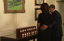 Obamas observe moment of silence on Newtown anniversary