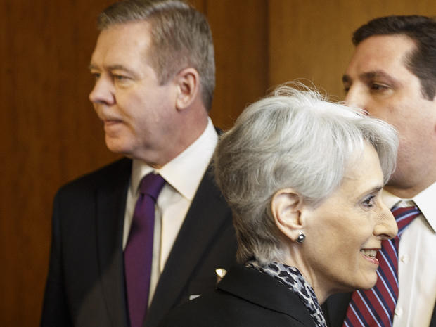 United States Under Secretary of State for Political Affairs Wendy Sherman, right, passes in front of Russian Deputy Minister of Foreign Affairs Gennady Gatilov, left