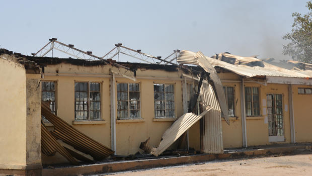The remains of the burned out Federal Government College in Buni Yadi, Nigeria