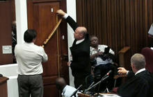 Pistorius trial: Bathroom door on display in court room