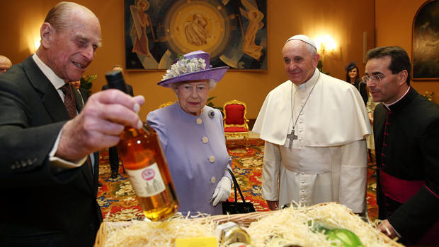 Queen Elizabeth II and Prince Philip, Duke of Edinburgh, have an audience with Pope Francis during their one-day visit to Rome April 3, 2014, in Vatican City.