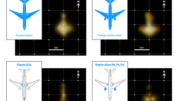 """A graphic from GeoResonance shows images depicting underwater """"anomalies"""" suggesting deposits of various metals in the approximate formation of a passenger airliner"""