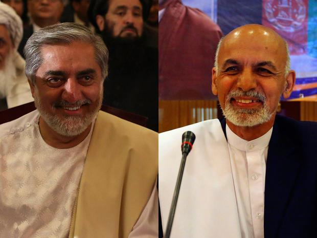 Afghan presidential candidates Abdullah Abdullah (left) and Ashraf Ghani Ahmadzai
