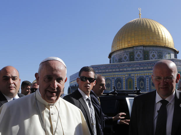 Pope Francis stands in front of the Dome of the Rock during his visit to the compound. known to Muslims as Noble Sanctuary and to Jews as Temple Mount