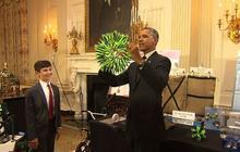 Obama tours White House science fair exhibits
