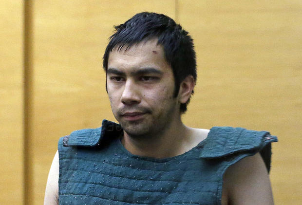 Shooting suspect Aaron Ybarra is led to a court hearing at a King County Jail courtroom June 6, 2014, in Seattle.