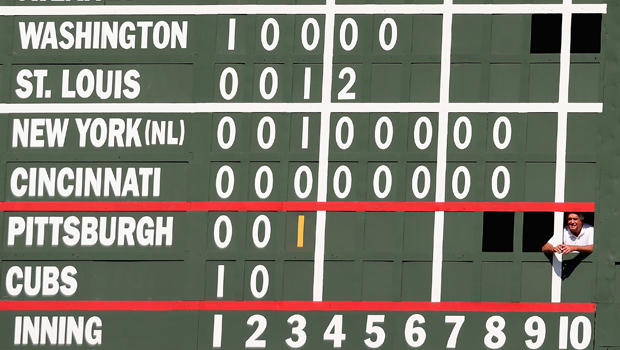 Image result for cubs hand operated scoreboard