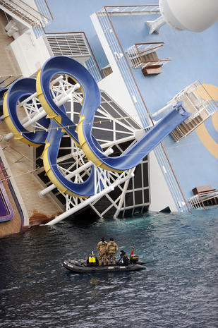 The wreck of the Costa Concordia is raised