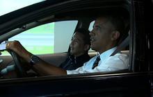 Obama gets back behind the wheel