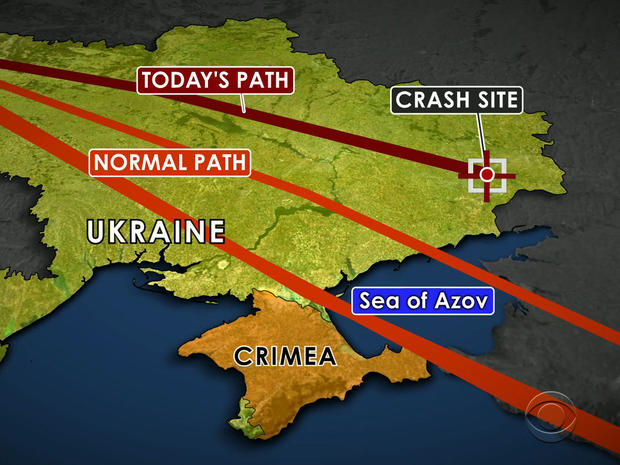 A map shows the flight path Malaysia Airlines Flight 17 typically takes between Amsterdam and Kuala Lumpur, Malaysia, and the path it took when it went down in Ukraine July 17, 2014.
