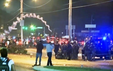 Police clash with protesters in Ferguson, Missouri