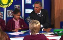 President Obama visits British primary school