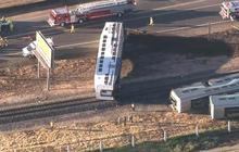 Metrolink train derails in California after truck crash