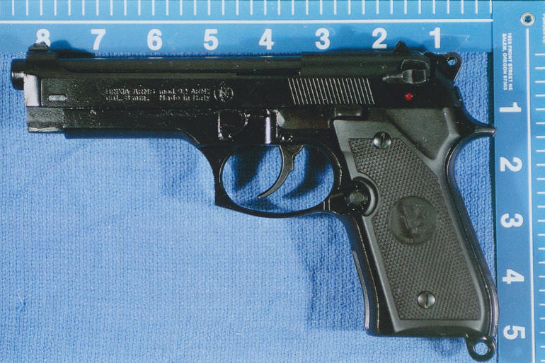 The intruder was also armed with what turned out to be a prop gun, like this one made by Brixia.