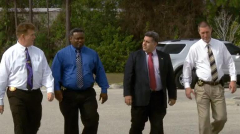 From left, Major Tod Goodyear, Agent Marlon Buggs, Lt. Carlos Reyes and Agent Wayne Simock
