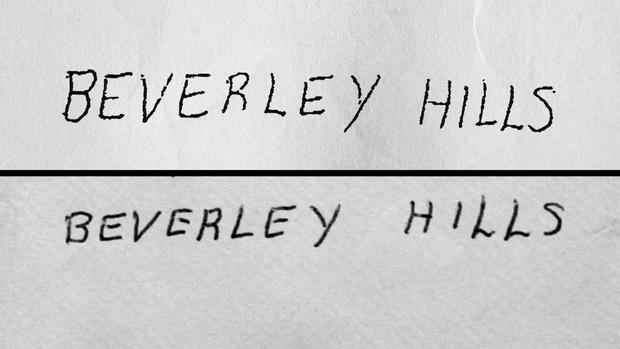 """在写给Susan Berman的信中,[底部]的笔迹似乎与""""尸体""""字母[top]的字母相匹配,直到""""Beverley""""这个词的拼写错误。"""